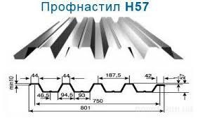 Профнастил н57 для создания ограды и крыши производят по подобной методике